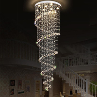 Jmmxiuz Modern Large Big Stair Long Spiral Crystal Chandelier Lighting Fixture for Staircase Rain Drop Pending Lamp +free ship