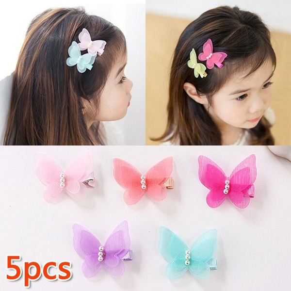 5 Pcs Lovely Pearl Chiffon Bow Hair Clip  Random Color
