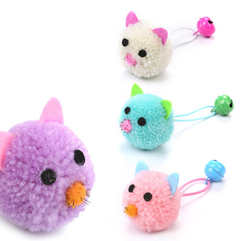 Home Garden Pet Supplies Cat Toys Plush Mouse Head Shape Bells Interesting Funny Cat Self-hey Toys Pet Products image