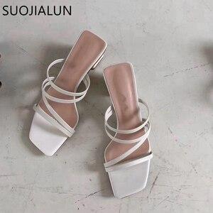 Image 3 - SUOJIALUN 2019 Brand Summer Women Slipper Low Heel  Slides Female Peep Toe Square Heel Sandal Vacation Flip Flops mujer Shoes