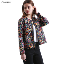 Ethnic Jacket Woman Fall Embroidery Plus Size Gypsy Short Floral Print O Neck Slim Loose Autumn Clothes 2019