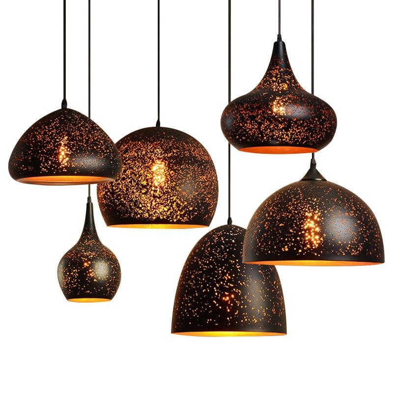 Led Nordic modern pendant lights Vintage Loft E27 indoor Hang lamp Industrial Wind Rust Pendant Lamp luminaire for Dining Room|Pendant Lights| |  - title=