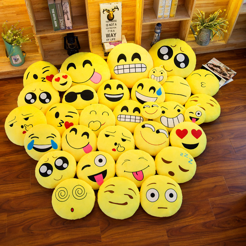 Crystal Embroidery Cartoon Expression Pillow Warm Peluches Cojines Cushion Plush Toys Dolls Gifts Coussin Drole Chair Cushion