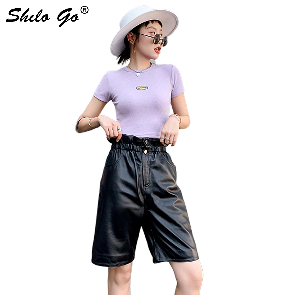 Knee Length Leather Pants Women Autumn Black Casual Solid Ruffles High Waist Button Front Sheepskin Genuine Leather Short Pants