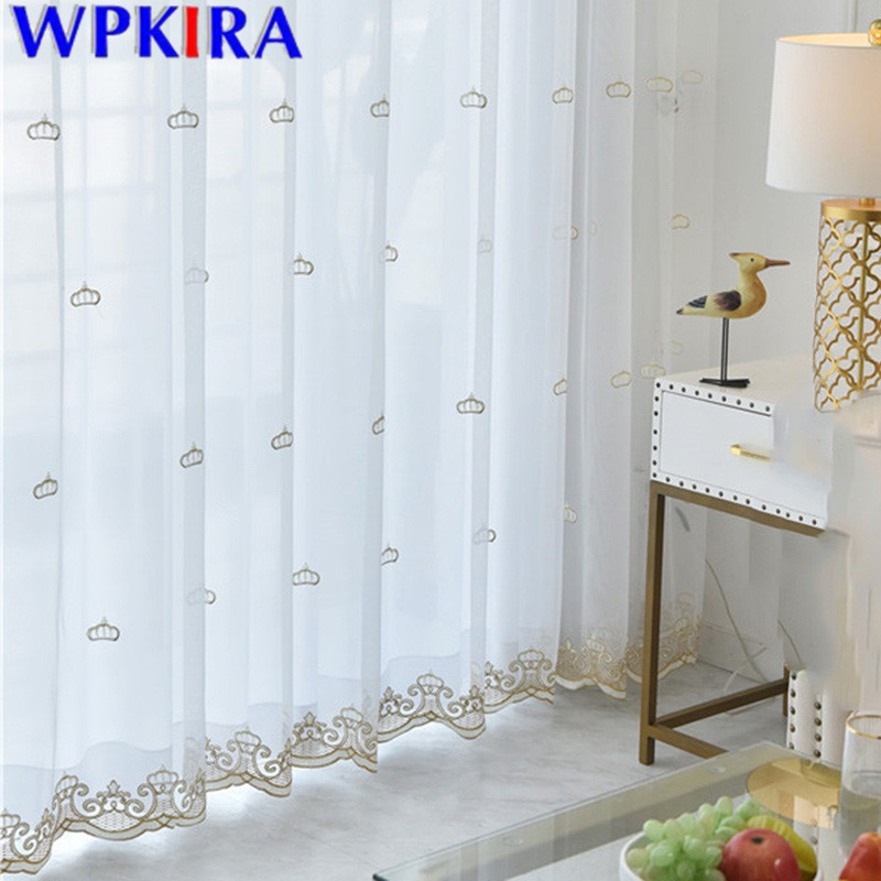 Embroidery Crown Tulle Curtain For Living Room Balcony Volie Sheer Curtain Bedroom Kitchen Modern Window Treatment X-M254#30