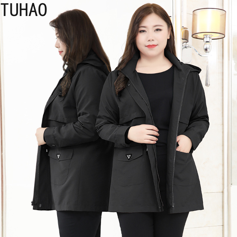 TUHAO Mother Plus Size 10XL 9XL 8XL 4XL Women Spring Long Sleeve Hoodies Jacket Coat Female Elegant Black Red Oversize Coats