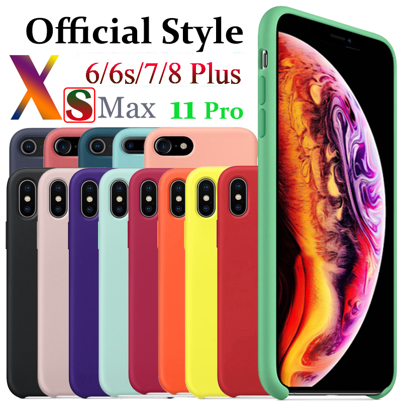 Luxury Original Official Style Silicone Case For IPhone 7 7Plus Case For Apple IPhone 11 Pro Max XR X XS Max 6 6s 8 Plus Cover