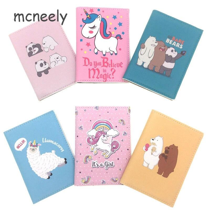 Women Exquisite Passport Covers Cartoon Cute Alpacas Passport Holder Travel Accessories Bags ID Bank Card Business Holder Case