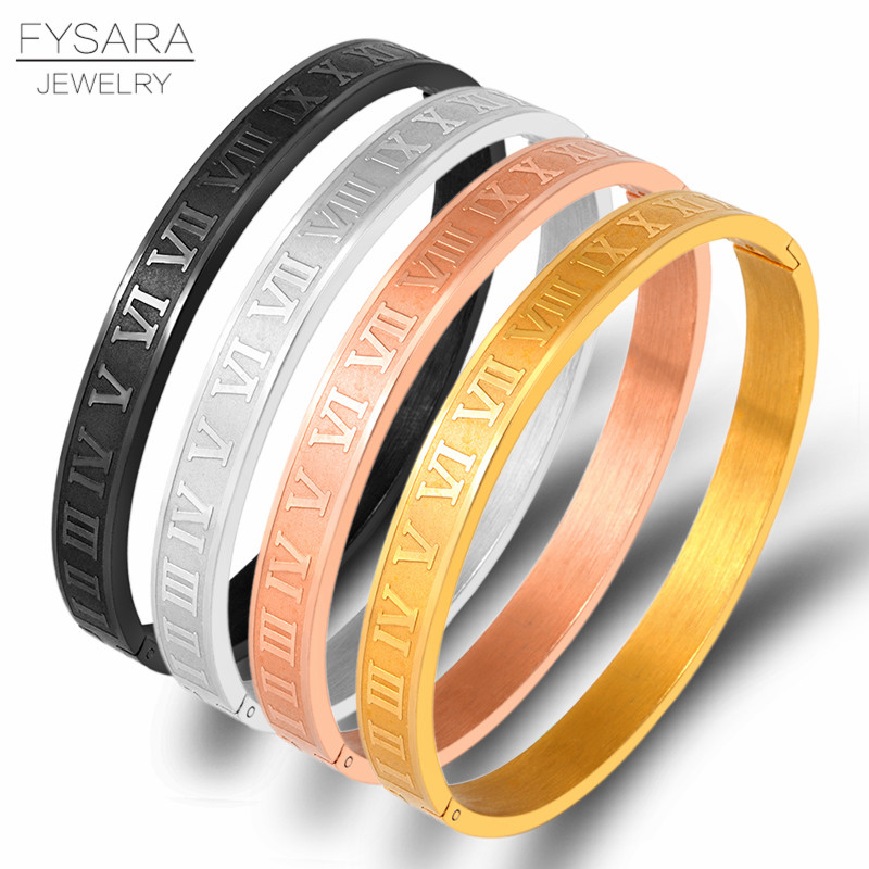 Stainless Steel Rose Gold Color Couple Bracelet Roman Numeral Lover Cuff