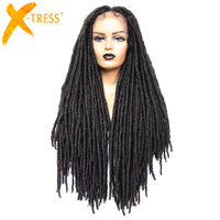 X TRESS Dreadlock Synthetic Hair Wigs For Black Women Faux Locs Crochet Braid Long Hairstyle Black Brown Colored Lace Front Wig