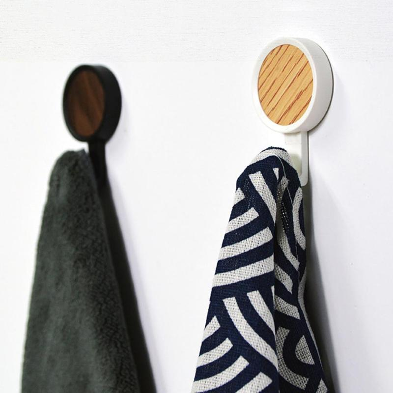 2 pcs Seamless Sticking Wooden Hook No Perforation Clothes Hanger Wall Mounted Coat Hook for Key Holder Hat Scarf Handbag