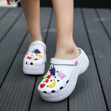 Summer Women Croc Clogs Platform Garden Sandals Cartoon Fruit Slippers Slip On For Girl Beach Shoes Fashion Slides Outdoor569(China)