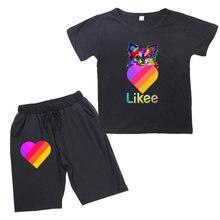 Likee app short sleeve suit kids heart rainbow boys girls cotton
