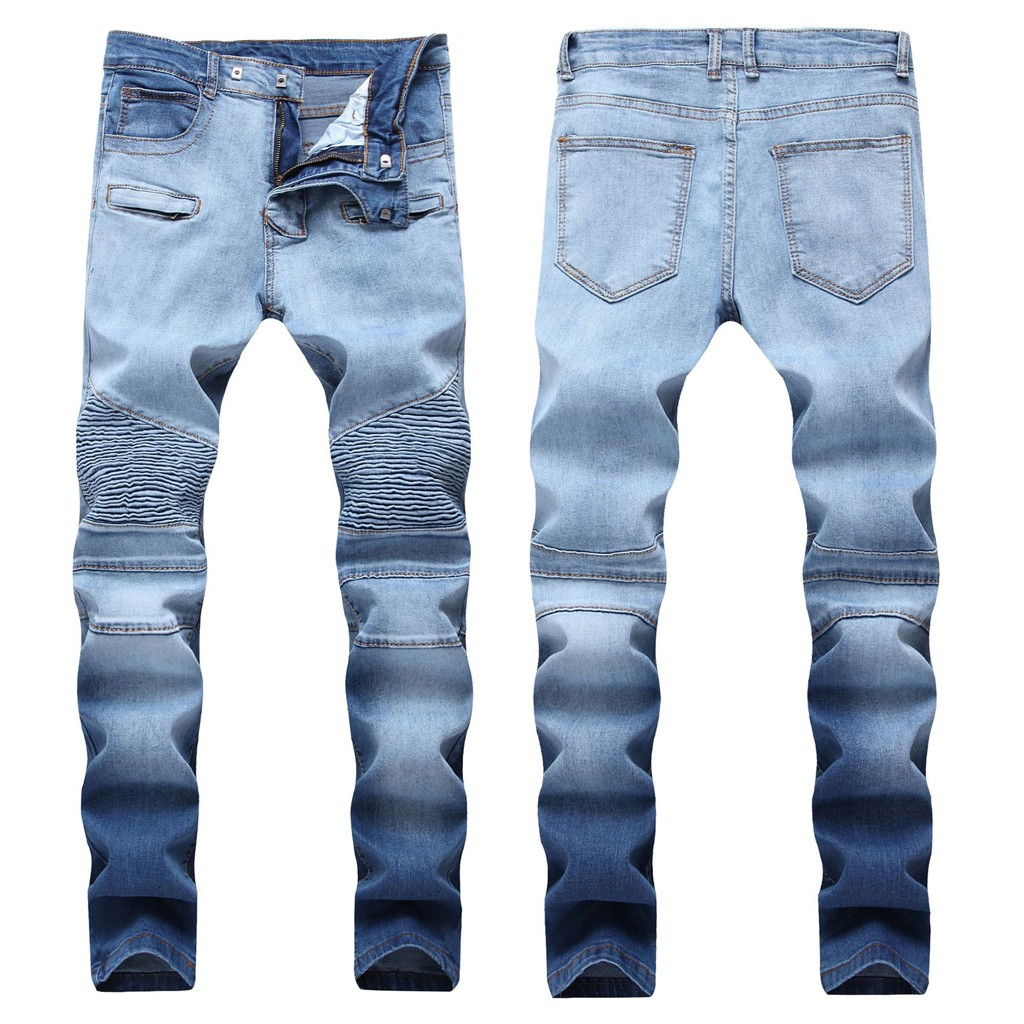Factory Direct Sales Men's Stretch Pleated Hole Casual Slim Sweatpants Pencil Jeans Trousers Pants Are You Sure Not To Buy It?
