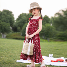 Girls' Chiffon Floral Dungaree Dress Cute Princess Dress 2020 Summer off-Shoulder Polka Dot midi Dress kids clothes فستان بناتي bell sleeve floral chiffon midi dress