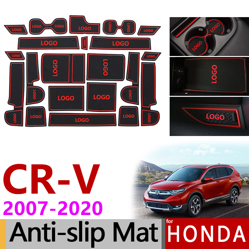 Anti-Slip Rubber Gate Slot Cup Mat for Honda CR-V 2007-2011 2012 2013 2014 2015 2016 2017 2018 2019 CRV CR V Accessories Sticker