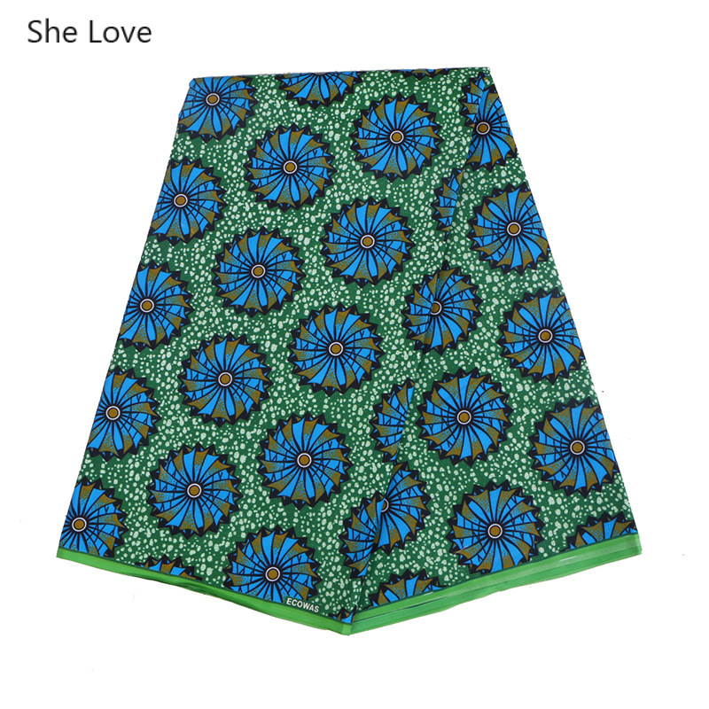 She Love 1Yard/lot Green African Print Wax Fabric Nigerian Bintarealwax Polyester Ankara Wheel Printed Fabric Diy Dress Material