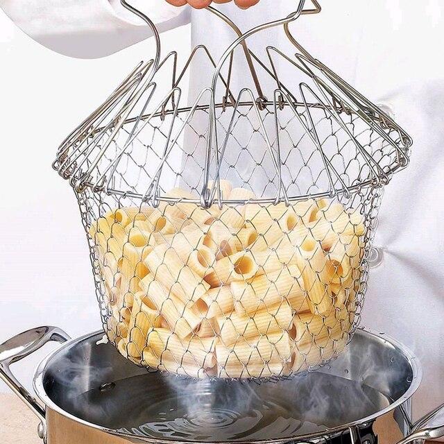 Pliable vapeur rinçage souche acier inoxydable friture panier passoire tamis maille crépine cuisine outils de cuisson accessoires Cocina 1