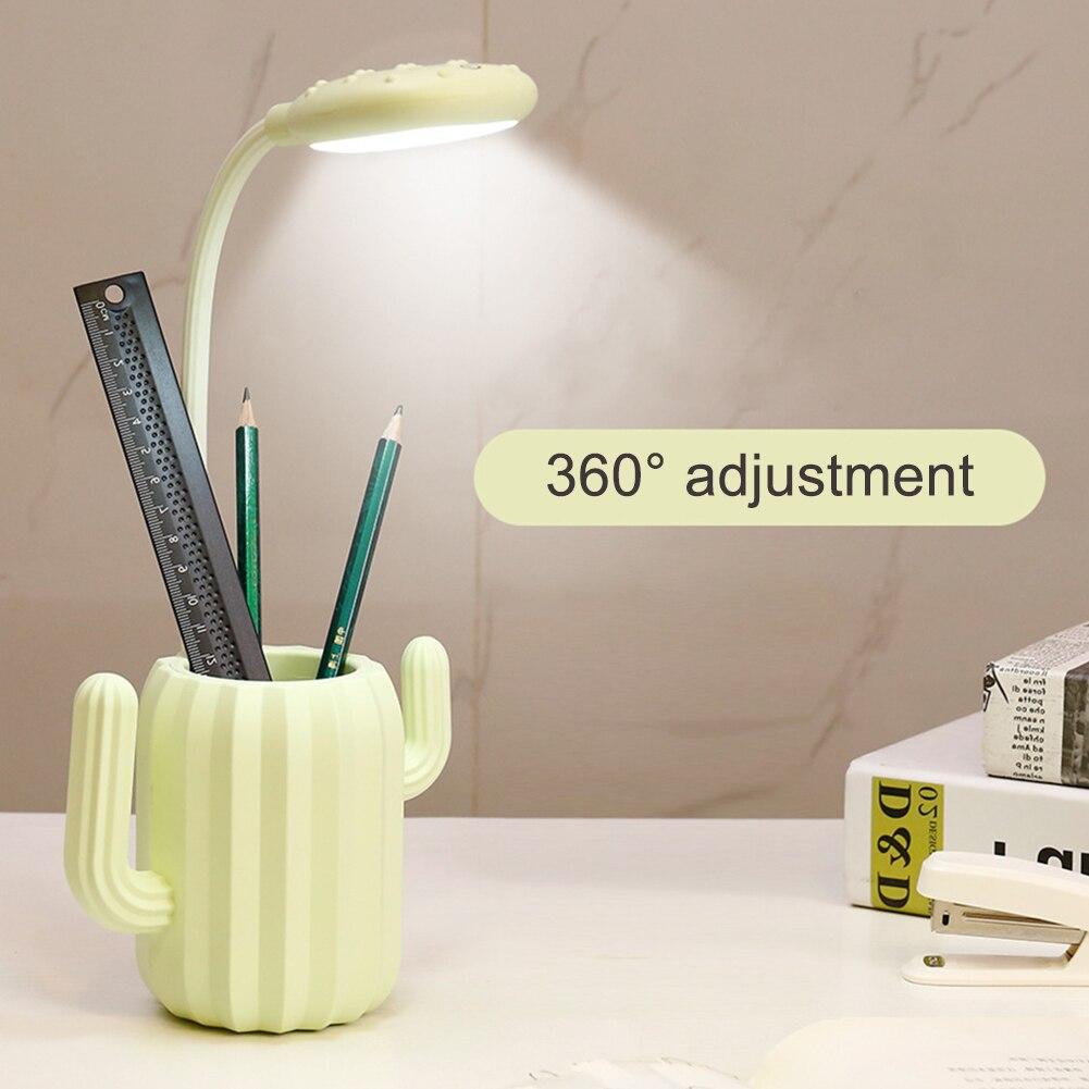 Cactus Model Pen Storage Holder With LED Folding Desk Lamp 1200mAh USB Charging Touch Switch Table Lights Desktop Organizer