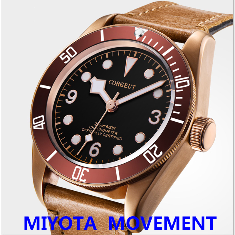 41mm Miyota Sport Military PVD Coffee Copper Bronze Case Sapphire
