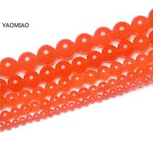 Free Shipping Colorful Tomato Chalcedony Jade 4/6/8/10/12/14mm Pick Size GEM Stone Beads Accessories For Fine Jewelry Making(China)