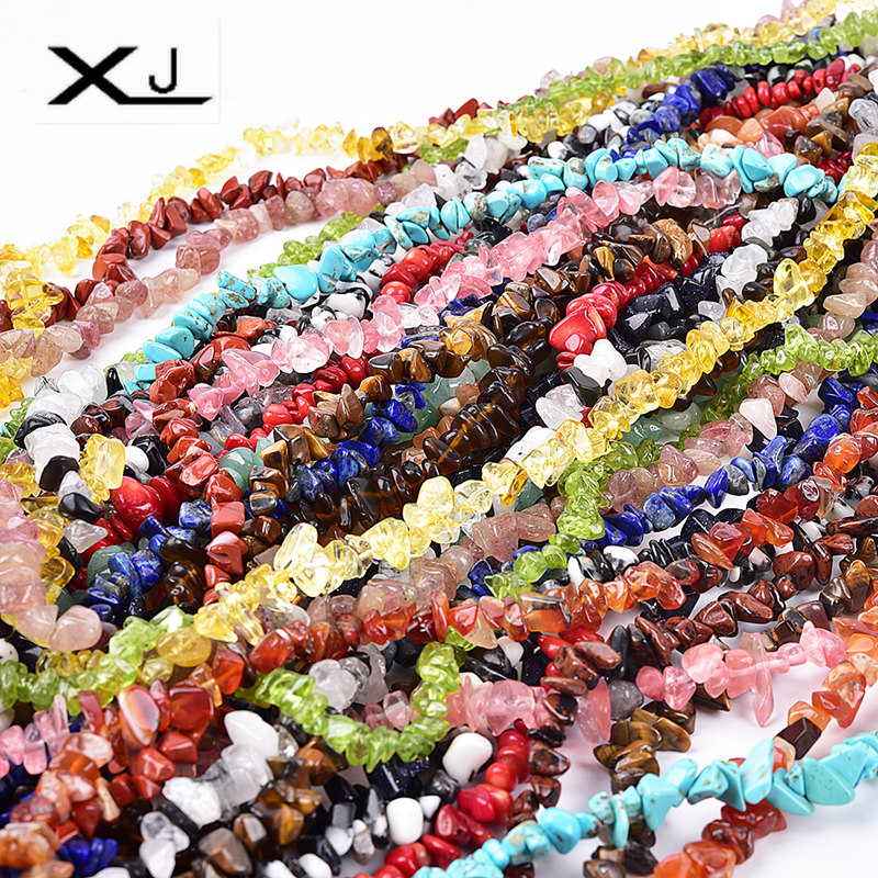 XJ Natural Gravel Stone Beads Colorful Spacer Loose 38cm a Strand Irregular For Jewelry Making DIY Bracelet
