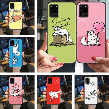 Cute Simons Cat Phone case For Samsung Galaxy Note 4 8 9 10 20 S3 S5 S8 S9 S10 S20 Plus UITRA Ultra black luxury Etui pretty image