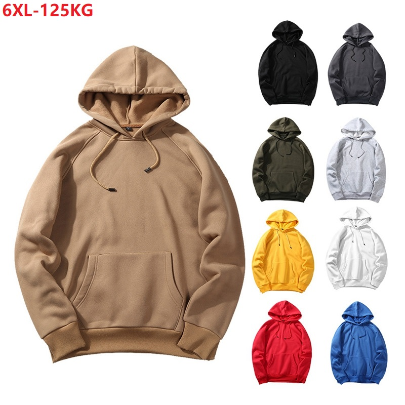 Men Autumn Soprts Sweatshirt Hooded Hoodies Winter Women Plus Size 4XL 6XL Warm Fleece Patchwork Sweatshirt Cheap Khaki Black 54