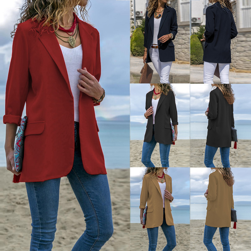 Elegant Women's Suits ZANZEA 2019 Autumn Blazers Female Casual Open Front Cardigan Woman Solid Office Lady Business Outwear 5XL