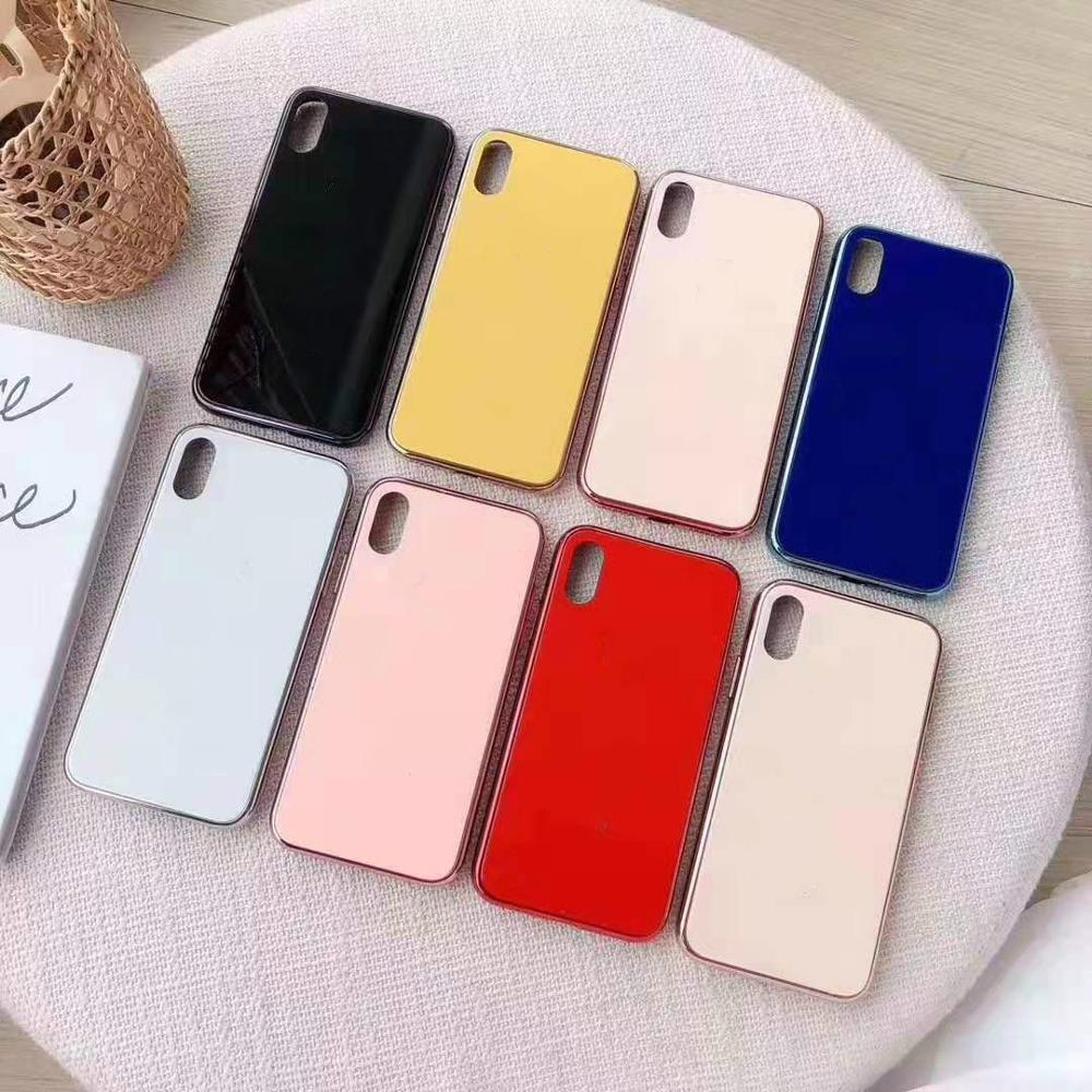 Luxury shockproof Cover Tempered Glass Mirror Cell Phone Case For iphone 6 7 8 Plus X XS XR MAX Solid Color Back Cover Cases