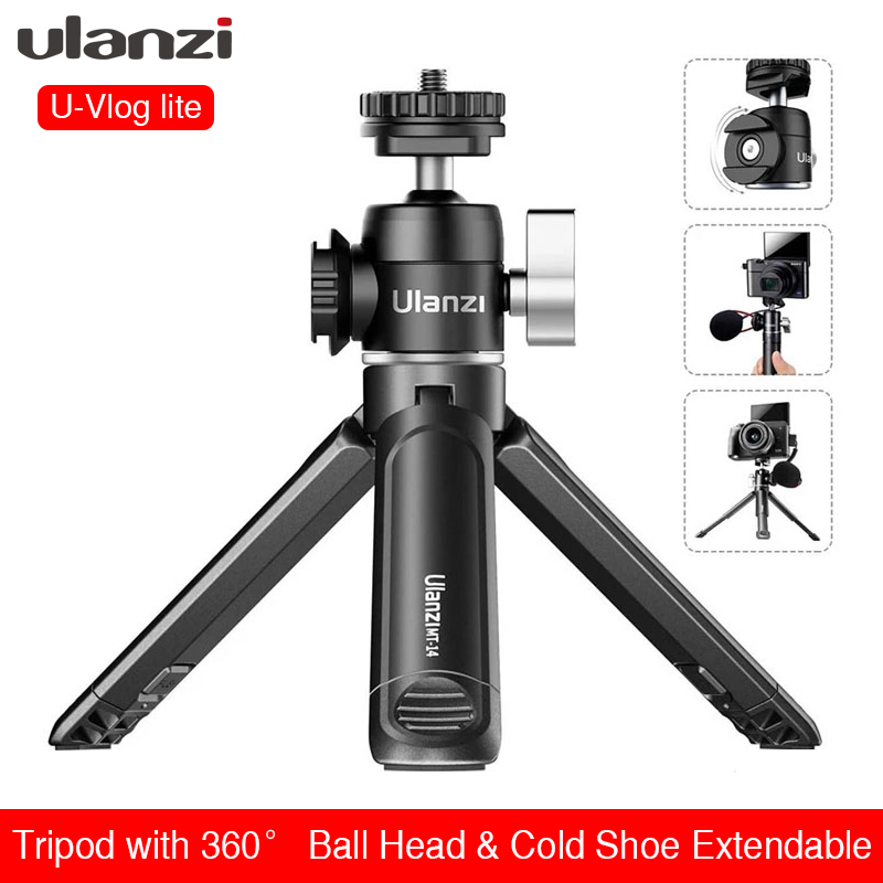 Ulanzi u-vlog lite mini tripé com 360 graus bola cabeça sapato frio extensível selfie vara para câmera iphone android monopé dslr