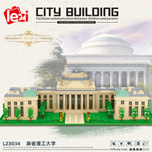 LEZI LZ8034 Miniature Diamond Small Particle Building Model Series MIT Modular Building Blocks Bricks Children's Toy Gift
