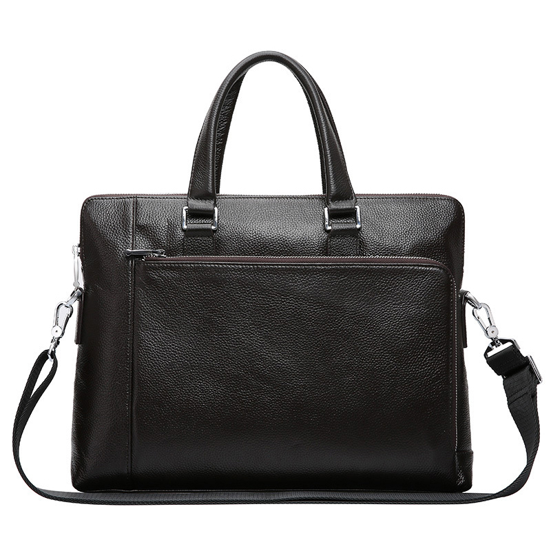 Nesitu A4 Black Coffee 100% Genuine Leather 14'' Laptop Office Men Briefcase Handbag Business Messenger Bag Portfolio M2336