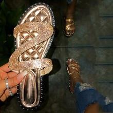 Fashion Women Rhinestone Slip-On Beach Sandals Ladies Open Toe Breathable Flat Shoes Summer Travel Slipper sandalias mujer