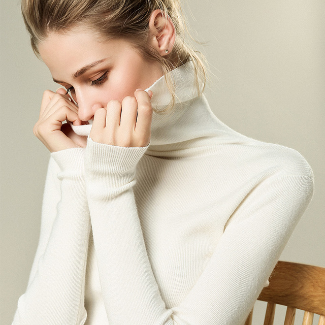 Autumn and Winter New Cashmere Sweater Women High Collar Pullover Fashion Sweater Warm Bottom Sweater 5