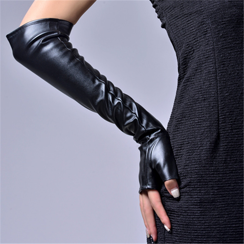 Winter Women's PU Fingerless Gloves Long 2018 Thermal Gloves Semi Finger Raglan Arm Warmers 40cm/46cm AD0603