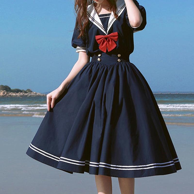 Платье в стиле Харадзюку С матросским воротником, милое хлопковое ретро-платье в японском стиле Лолита, с бантом, в стиле преппи, с коротким ...