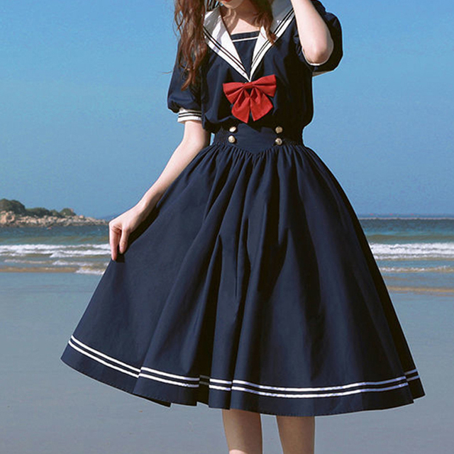 Harajuku Sailor Collar Navy Dress Japanese Lolita Sweet Bow-knot Girl Retro Cotton Kawaii Preppy Style Short Sleeve Dress Women