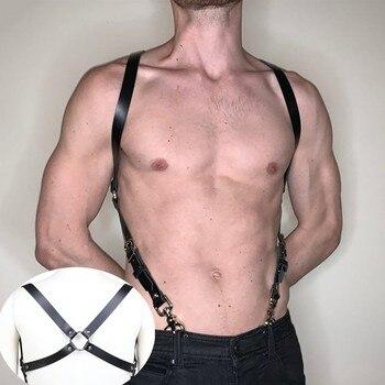 Fetisch Männer Brust Leder Top Einstellbar Gürtel für BDSM Bondage 1