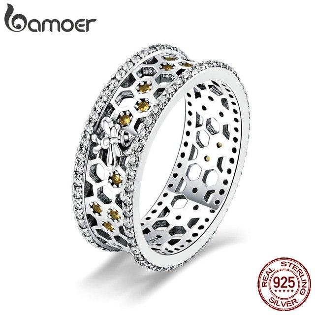 BAMOER מכירה לוהטת 925 סטרלינג כסף מלכת דבורה משושה ברור CZ גדול טבעת לנשים דבורה תכשיטים S925 SCR391