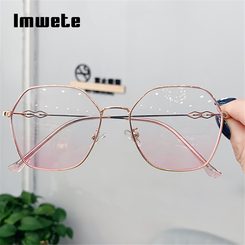 Imwete Retro Transparent Optical Glasses Frame Women Men Polygon Eyeglasses Frames Ladies Clear Lens Myopia Spectacles Eyewear