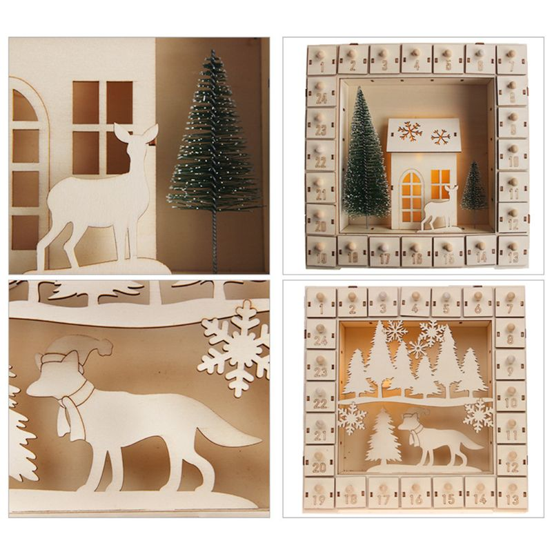 Christmas Tree Wooden Advent Calendar Countdown Decoration 24 Drawers with LED Light Ornament