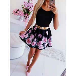 Slim Dress Vestido Bodycon Print Sexy Mini Women Boho Sleeveless Casual O-Neck