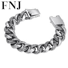 FNJ 925 Silver Bracelet Statement Feather 20cm Big Chain Width 7mm Original Pure S925 Silver Bracelets for Men Jewelry Fine(China)