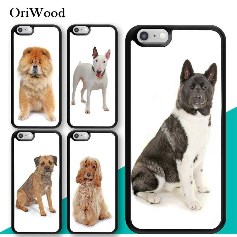 OriWood Cocker Bull Terrier Akita Chow Chow Dog Caixa Do Telefone para iphone 5s 6 6s 7 8 Plus X XR XS MAX TPU Volta capa Para O iphone X