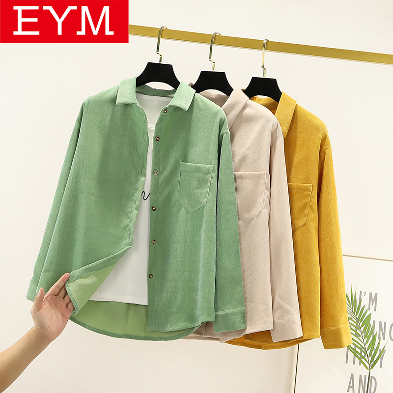 Simple Corduroy Shirt Women New Autumn Solid Color Blouses and Tops Ladies Long Sleeve Loose Preppy Style Casual Shirt(China)