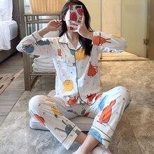 Women Casual Long Sleeve Pajamas Sets Fashion Cartoon Fruit Print Shirt + Trousers Set Female Sleepwear