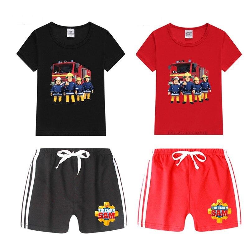 Ensemble garçon et fille | Ensemble t-shirt Sam pompier, ensemble short et haut pour enfants, ensemble hauts + pantalons, tenue de vêtements pour chats, livraison directe