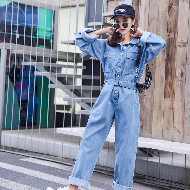 ファッション長袖カジュアルルーズフィットデニムジャンプスーツ女性学生ジーンズオーバーオールアンクル丈パンツ女性作業服 S-XL