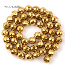 """Plated Faceted Gold Hematite Natural Round Loose Beads 15"""" Strand Pick 4-10m Spacer Beads For Necklace Bracelet Jewelry Making multilayered gold plated textured rhinestone strand bracelet"""